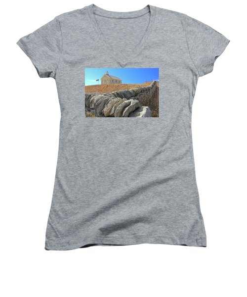 Stone Wall Education Women's V-Neck T-Shirt (Junior Cut) by Christopher McKenzie