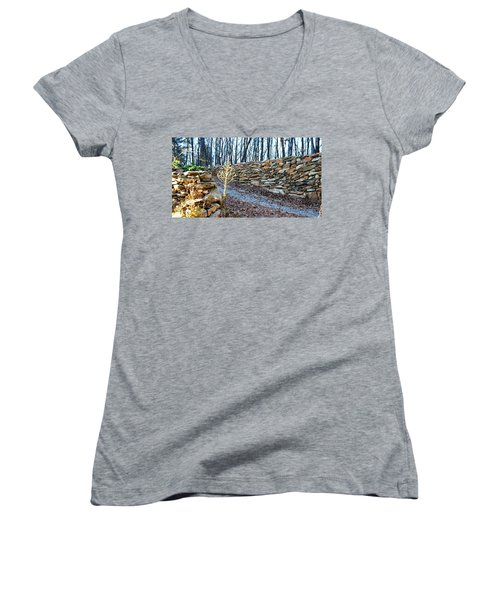 Stone Wall Ga Mountain 1 Women's V-Neck T-Shirt (Junior Cut) by Angela Murray