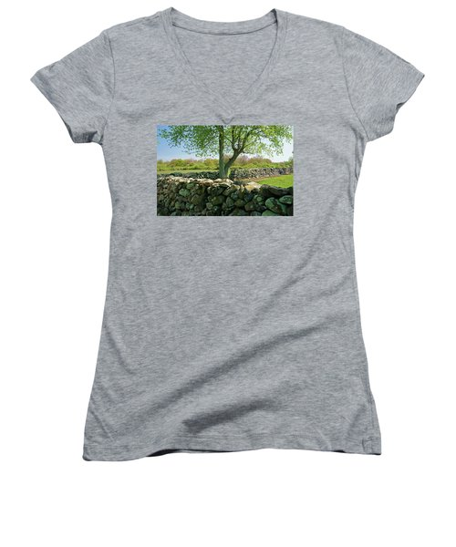 Stone Wall In Rhode Island Women's V-Neck (Athletic Fit)