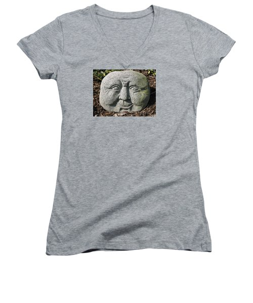 Women's V-Neck T-Shirt featuring the photograph Stoneface by Charles Kraus