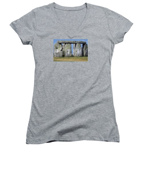 Stonehenge Women's V-Neck T-Shirt (Junior Cut) by Travel Pics
