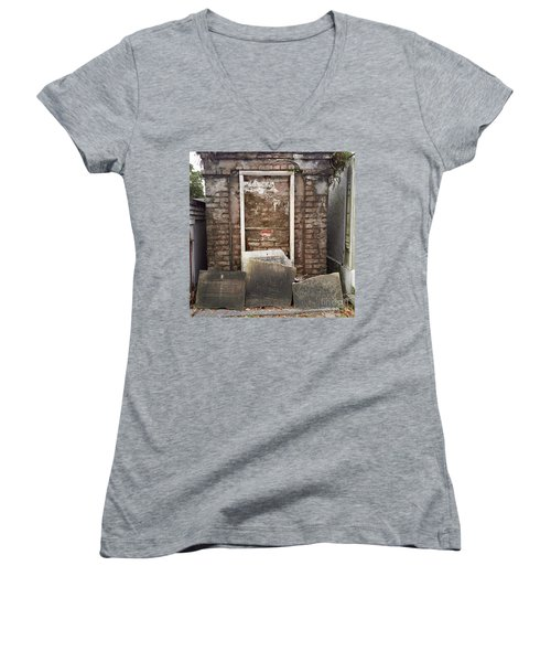 Women's V-Neck T-Shirt (Junior Cut) featuring the photograph Stones And Markers by Kim Nelson