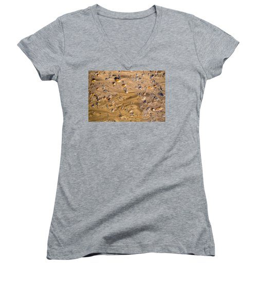 Women's V-Neck T-Shirt (Junior Cut) featuring the photograph Stones In A Mud Water Wash by John Williams