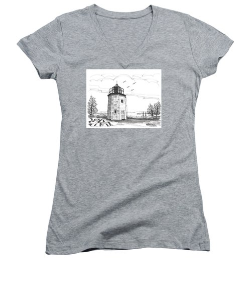 Stony Point Lighthouse Women's V-Neck