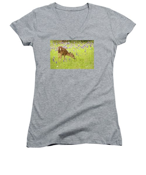 Stop And Smell The Bluebonnets. Women's V-Neck T-Shirt