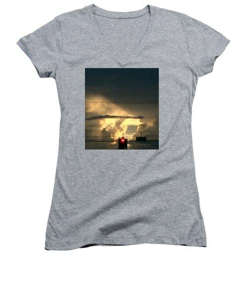 Stoplight In The Sky Women's V-Neck T-Shirt (Junior Cut) by Audrey Robillard
