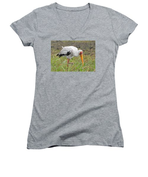 Women's V-Neck T-Shirt (Junior Cut) featuring the photograph Stork by Betty-Anne McDonald