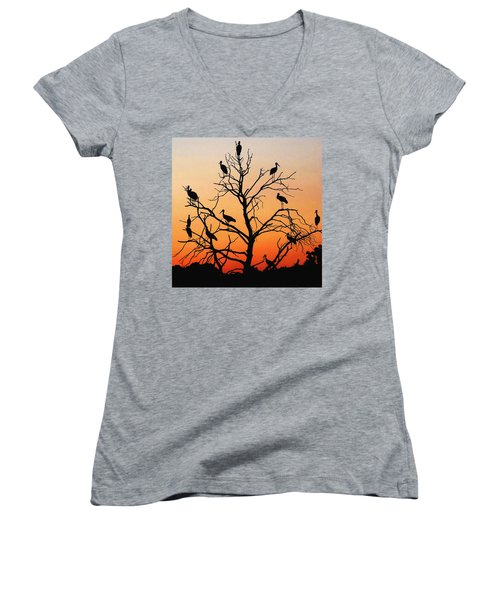 Storks In The Evening Sun Light Women's V-Neck
