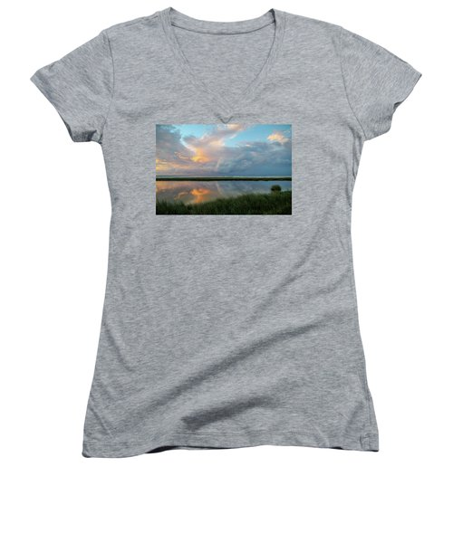 Storm Cloud Reflections At Sunset Women's V-Neck