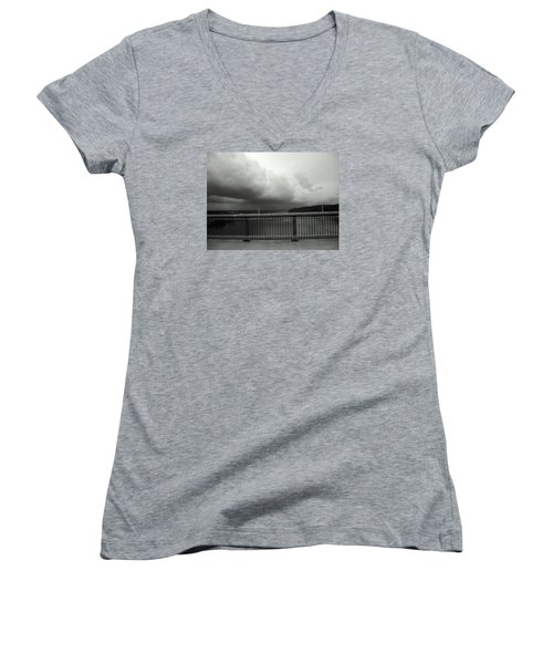 Women's V-Neck T-Shirt (Junior Cut) featuring the photograph Storm Clouds On The Hudson by Bruce Carpenter