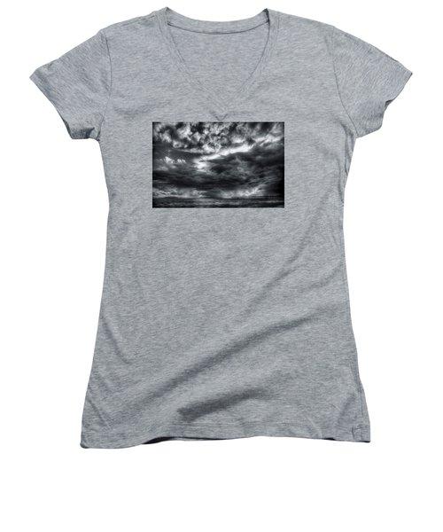 Storm Clouds Ventura Ca Pier Women's V-Neck T-Shirt (Junior Cut) by John A Rodriguez