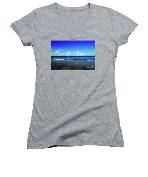 Women's V-Neck T-Shirt featuring the photograph Storm On The Horizon by Gary Wonning