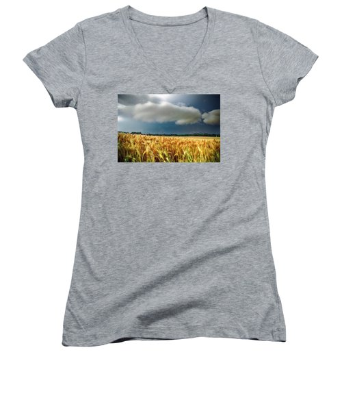 Storm Over Ripening Wheat Women's V-Neck (Athletic Fit)