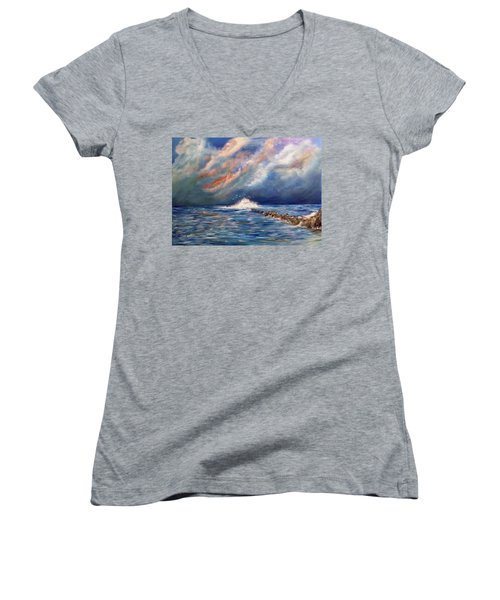 Storm Over The Ocean Women's V-Neck T-Shirt (Junior Cut) by Dorothy Maier