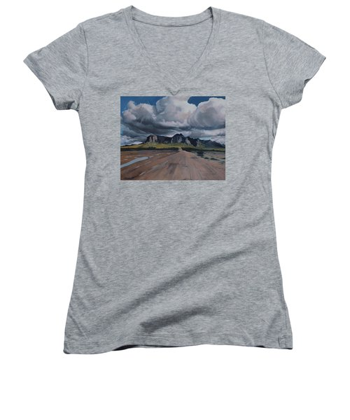Storm Over The Superstitions Women's V-Neck T-Shirt (Junior Cut) by Barbara Barber