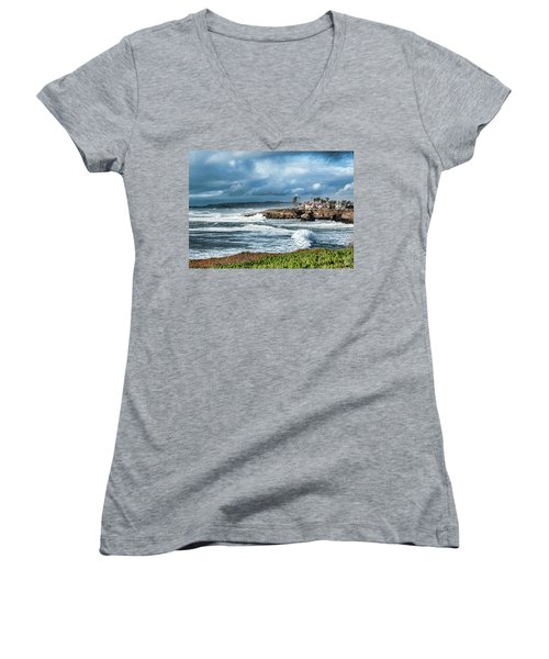 Storm Wave At Sunset Cliffs Women's V-Neck T-Shirt (Junior Cut)