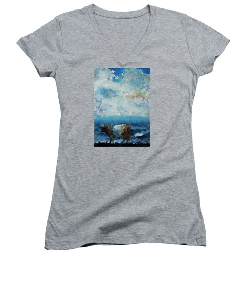 Storms Coming - Belted Galloway Cow Under A Colorful Cloudy Sky Women's V-Neck T-Shirt