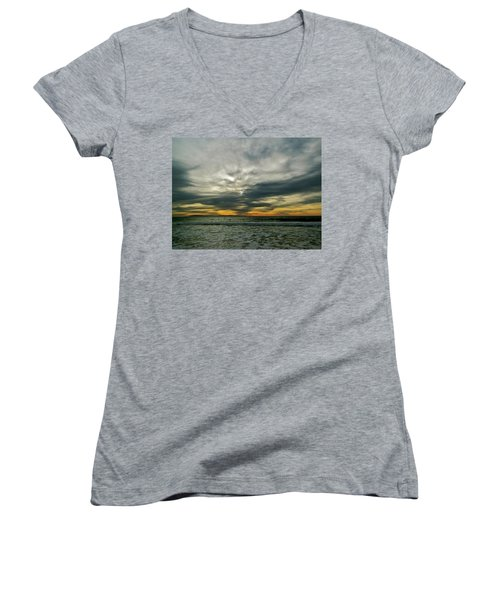Stormy Beach Clouds Women's V-Neck T-Shirt