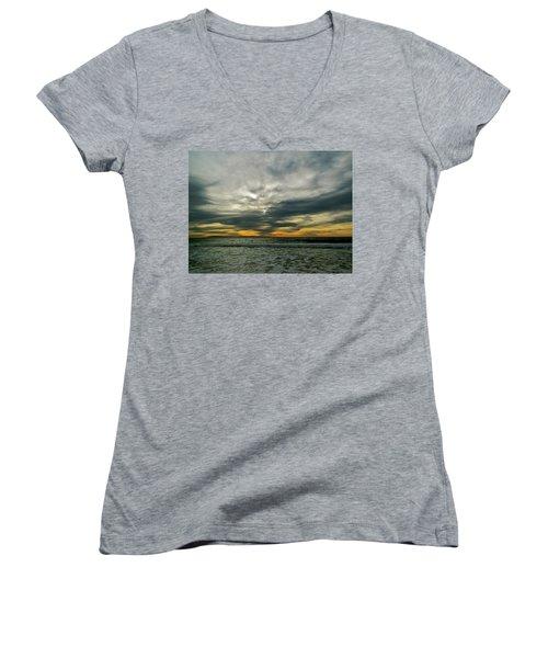 Stormy Beach Clouds Women's V-Neck T-Shirt