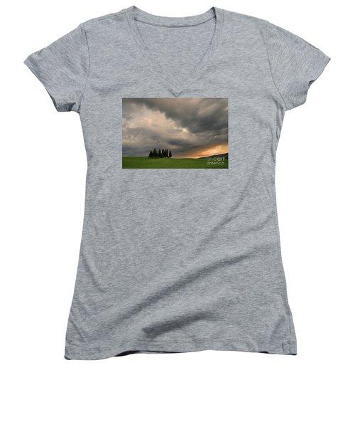Stormy Day Women's V-Neck T-Shirt (Junior Cut) by Yuri Santin