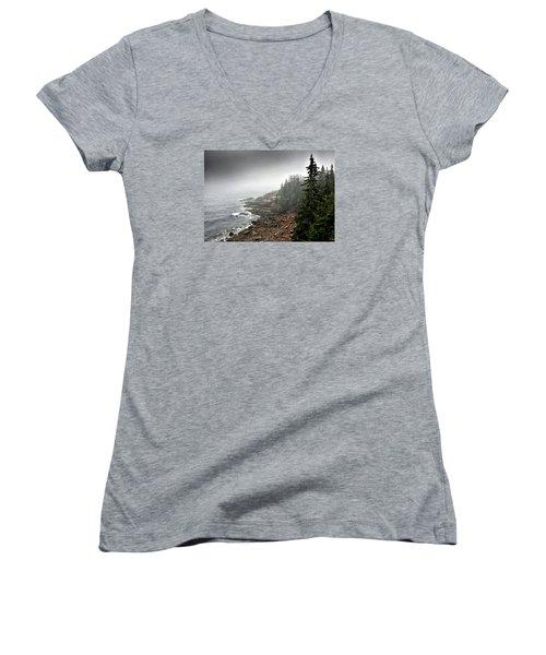 Stormy North Atlantic Coast - Acadia National Park - Maine Women's V-Neck T-Shirt (Junior Cut) by Brendan Reals