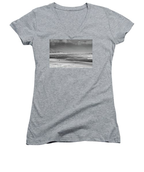 Stormy Oceanside Oregon Women's V-Neck T-Shirt (Junior Cut) by Amyn Nasser