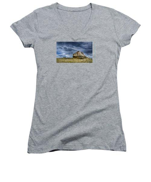 Stormy Peak 2 Women's V-Neck T-Shirt (Junior Cut) by Mary Angelini