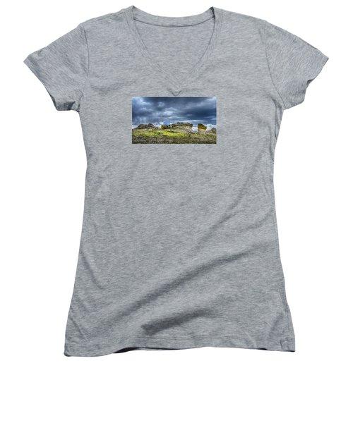 Stormy Peak 3 Women's V-Neck T-Shirt (Junior Cut) by Mary Angelini