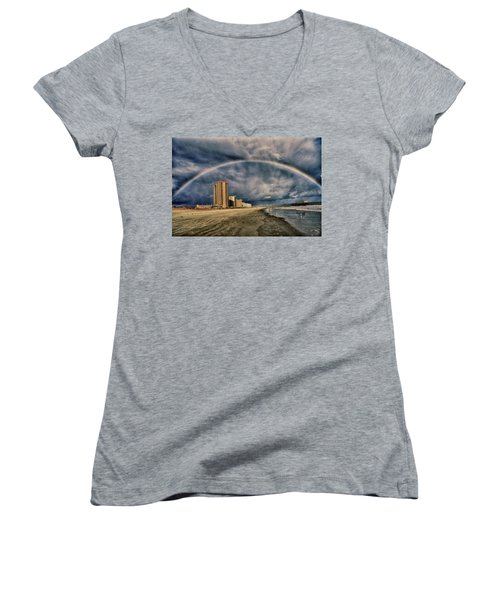Women's V-Neck T-Shirt (Junior Cut) featuring the photograph Stormy Rainbow by Kelly Reber