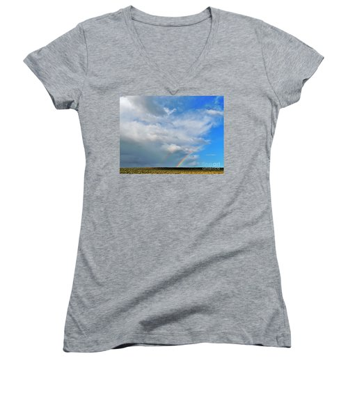 Thunder Storm Rainbow Women's V-Neck T-Shirt