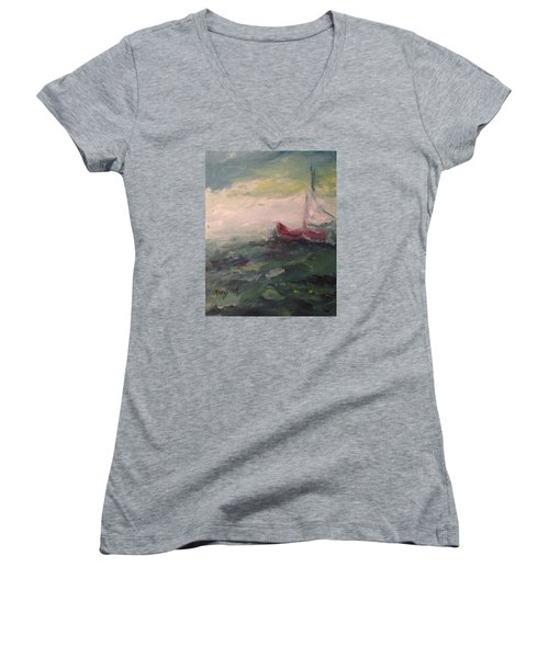 Stormy Sailboat Women's V-Neck T-Shirt (Junior Cut) by Roxy Rich