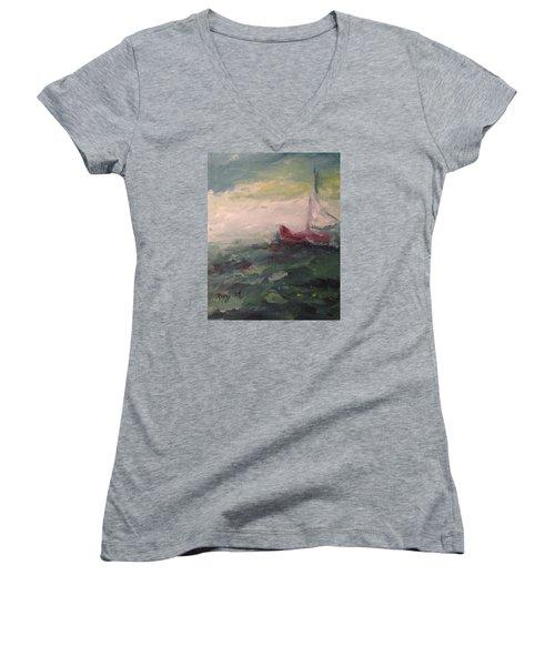 Stormy Sailboat Women's V-Neck T-Shirt (Junior Cut)