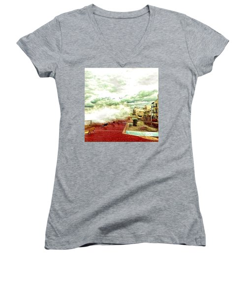 Stormy Sea Women's V-Neck (Athletic Fit)