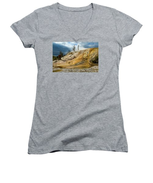 Stormy Skies At Mammoth Women's V-Neck T-Shirt (Junior Cut) by Steve Stuller