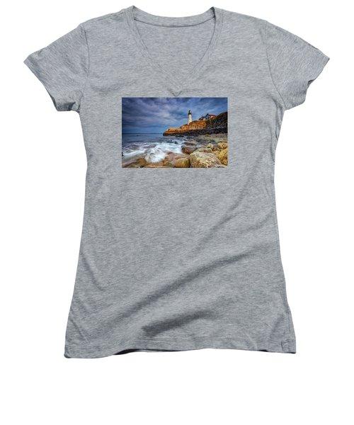 Stormy Skies At Portland Head Women's V-Neck T-Shirt (Junior Cut) by Rick Berk