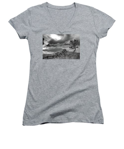 Stormy Sky At The Ranch Women's V-Neck (Athletic Fit)