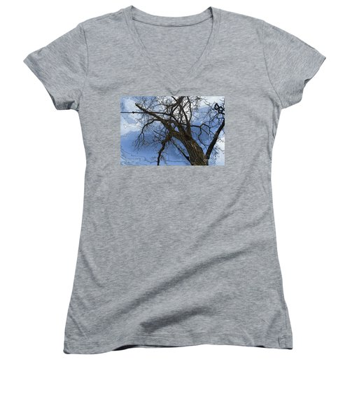 Stormy Sky Blue Women's V-Neck T-Shirt (Junior Cut) by Renie Rutten