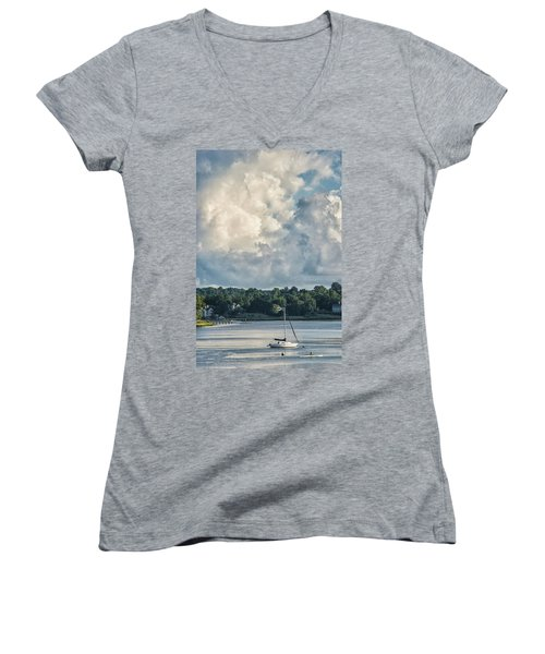 Stormy Sunday Morning On The Navesink River Women's V-Neck T-Shirt