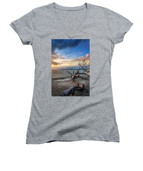 Women's V-Neck T-Shirt (Junior Cut) featuring the photograph Stormy Sunset by Marvin Spates