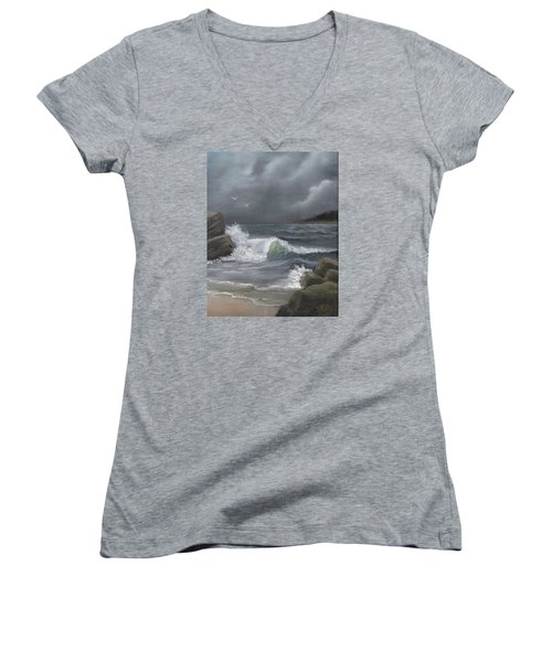 Women's V-Neck T-Shirt (Junior Cut) featuring the painting Stormy Waters by Sheri Keith