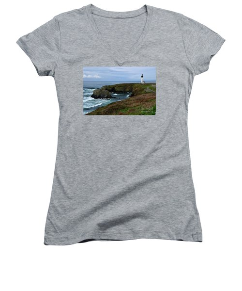 Stormy Yaquina Head Lighthouse Women's V-Neck T-Shirt