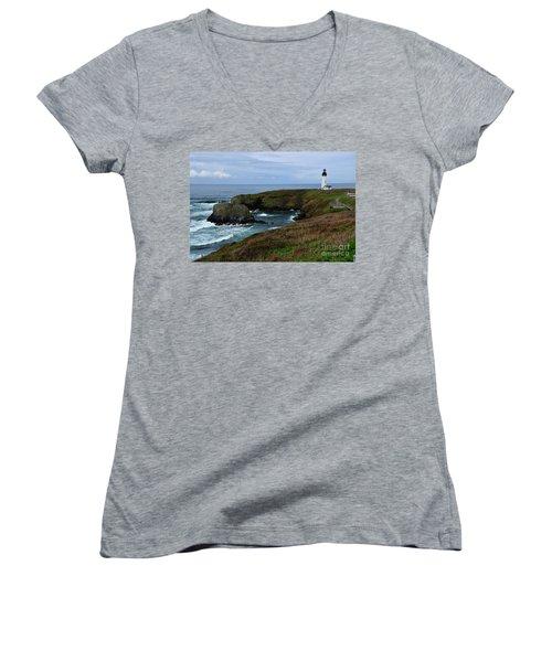 Stormy Yaquina Head Lighthouse Women's V-Neck T-Shirt