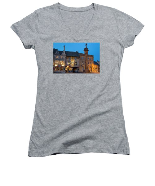Women's V-Neck T-Shirt (Junior Cut) featuring the photograph Stow On The Wold - Twilight by Brian Jannsen