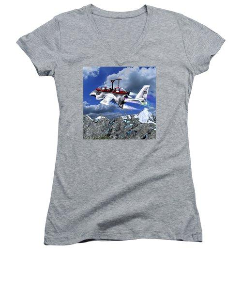 Stowing The Lift Women's V-Neck T-Shirt (Junior Cut) by Dave Luebbert