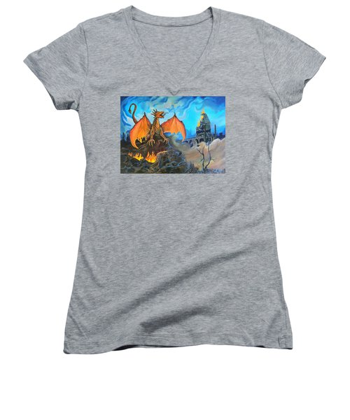 Women's V-Neck T-Shirt (Junior Cut) featuring the painting Straight To The Casttttle by Kevin F Heuman