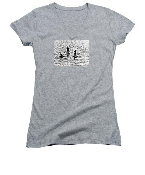 Strange Journey Women's V-Neck T-Shirt (Junior Cut) by Scott Cameron