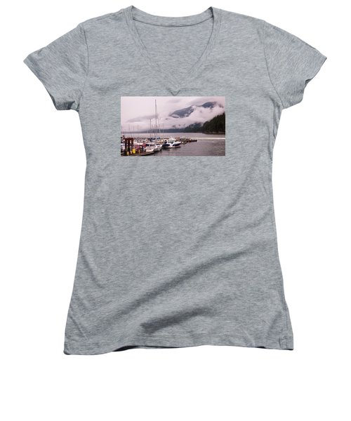 Stratus Clouds Over Horseshoe Bay Women's V-Neck T-Shirt (Junior Cut)