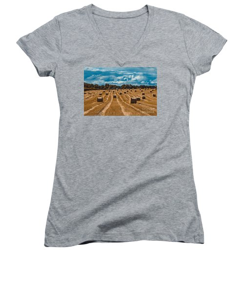Straw Bales In A Field Women's V-Neck T-Shirt