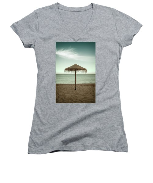Women's V-Neck T-Shirt (Junior Cut) featuring the photograph Straw Shader by Carlos Caetano