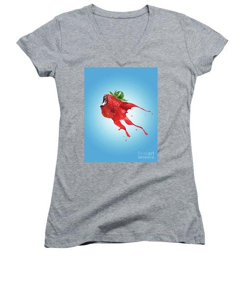 Women's V-Neck T-Shirt (Junior Cut) featuring the photograph Strawberry by Juli Scalzi